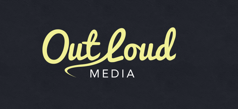 Out Loud Media logo med svart bakgrunn og gul skrift